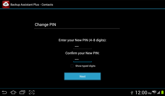 Enter new PIN / re-enter new PIN, Next