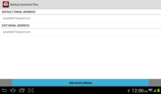 Email Settings screen, Add email address