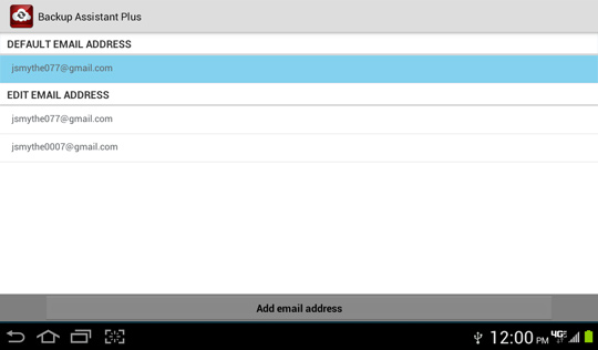 Email settings screen, Default email address