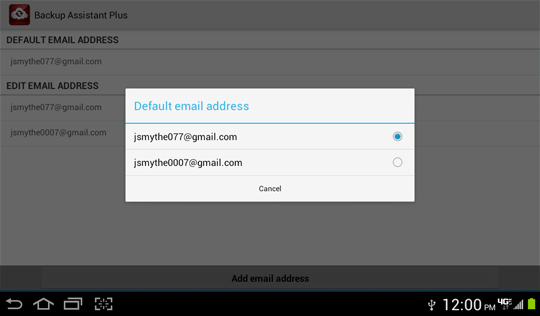 Default email address options screen