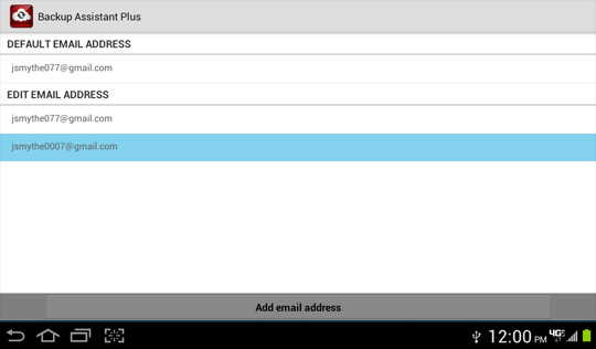 Edit email settings screen