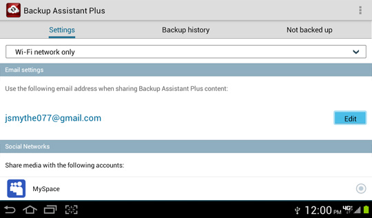 Backup Assistant Plus Settings screen, Email settings