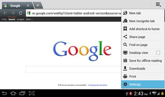 Menú Browser, Settings