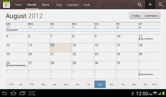 Calendar screen, Add