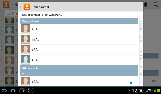 Pantalla Join contact, Contacts list