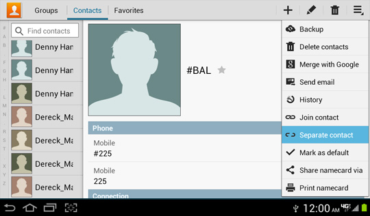 Contacts menu, Separate contact