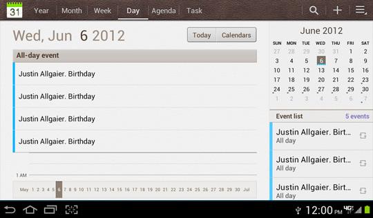 Calendario, vista por día