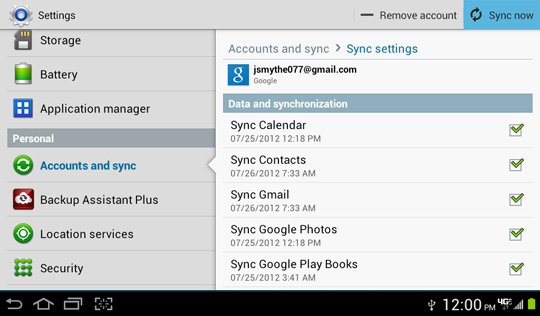Google account Sync settings screen, Sync now
