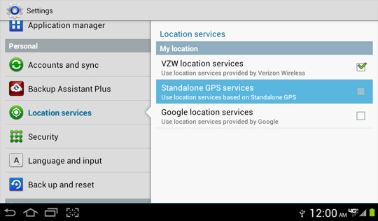 Location settings screen, Standalone GPS Services