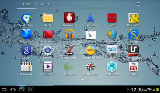 Home screen, Recent apps