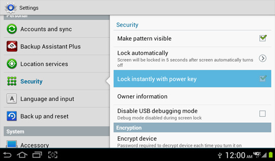 Security settings screen, Lock instantly with power key
