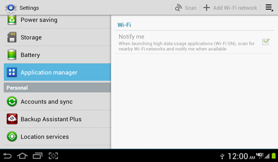 Settings screen, Application manager