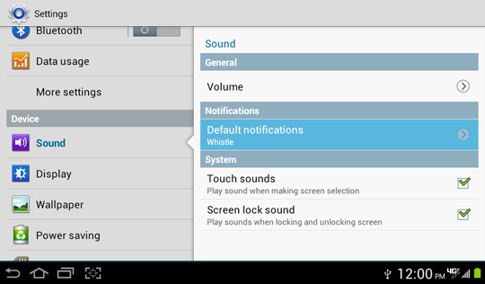 Pantalla Sound, Default notifications