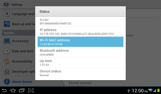 Status screen, Wi-Fi MAC address