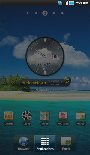 Home screen, Applications