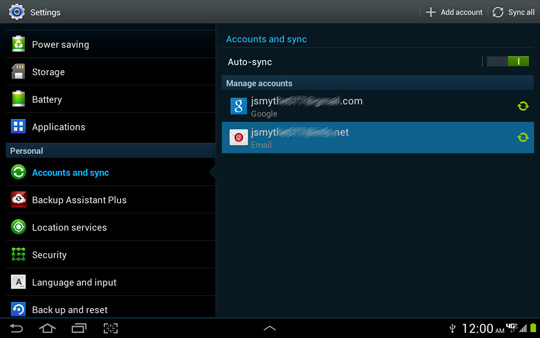 Accounts and sync screen, POP / IMAP