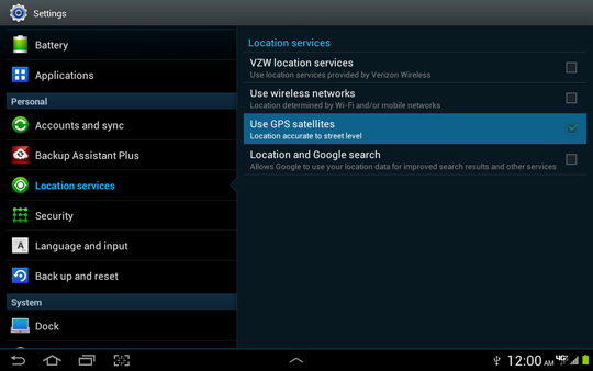 Location services screen, Use GPS satellites