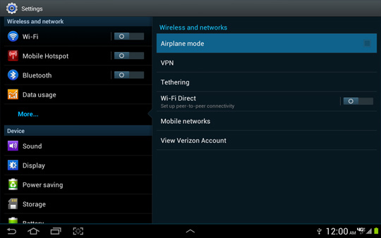 More settings screen, Airplane mode
