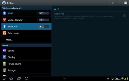 Menú Settings, Bluetooth