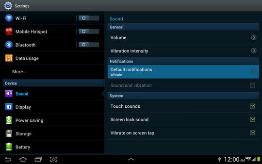 Opciones de sonido, notificación predeterminada