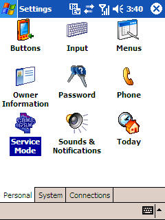 Image of Service mode icon