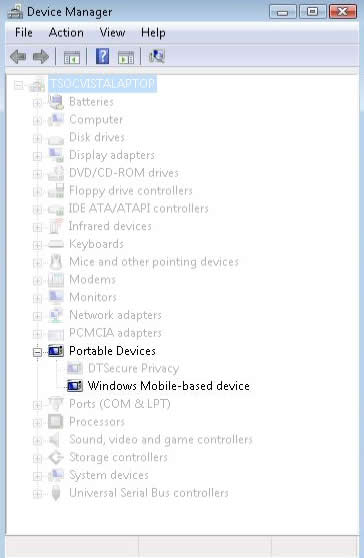 Device Manager with PDA displayed