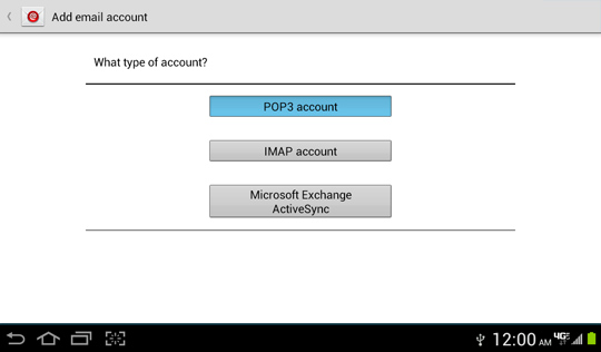 Pantalla de opciones Add email account