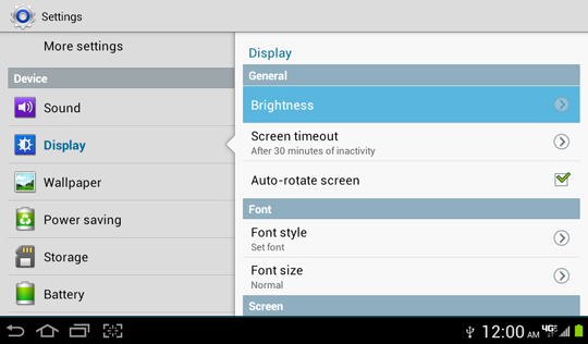 Display settings screen, Brightness
