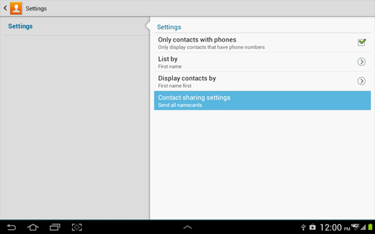 Contact settings, Contact sharing settings