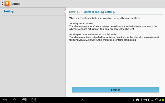 Contacts Settings, Contact sharing settings explaination, Settings
