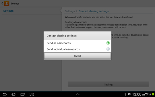Contact sharing settings options screen