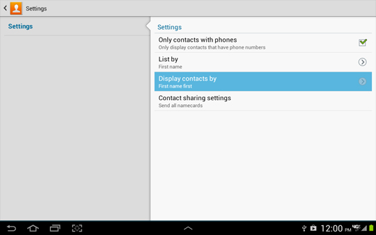 Contacts Settings, Display contacts by