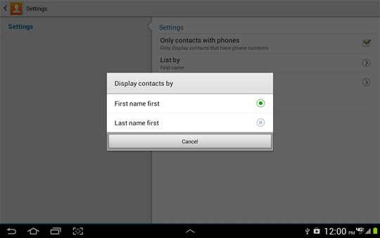 Contacts Settings, Disoplay contacts by options screen