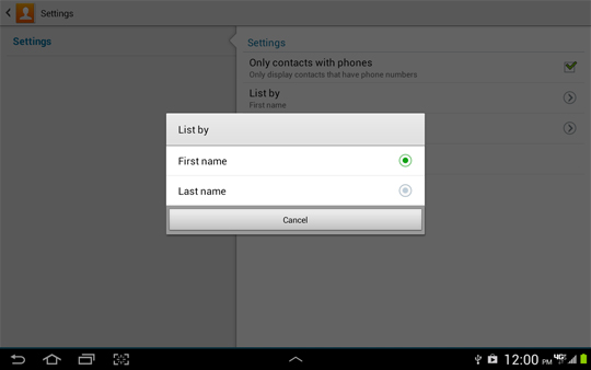 Contacts Settings, List by options screen