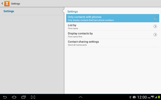 Contacts Settings, Only with phone nunmber