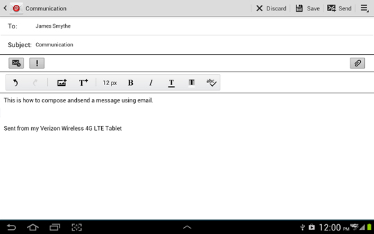 Compose email screen