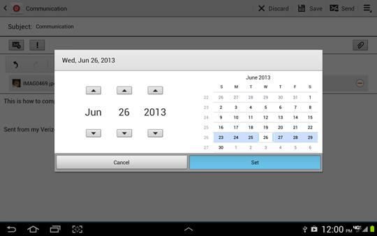 Pantalla Scheduling options, establecer fecha