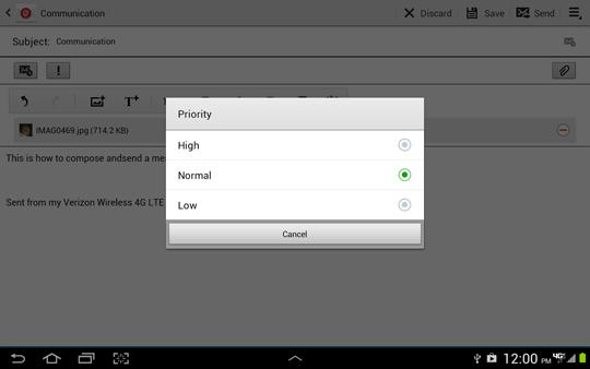 Pantalla Priority options