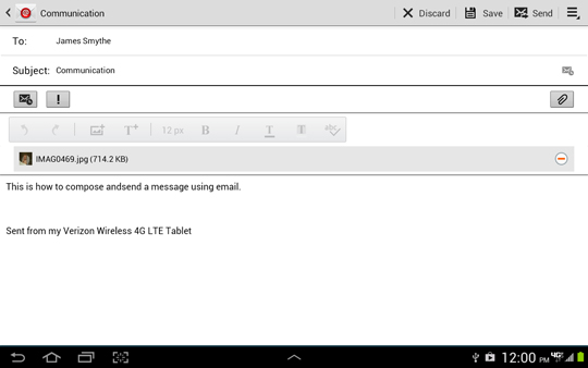 Compose email screen, Send
