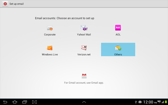 Pantalla Set up email, Others