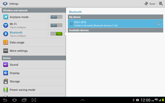 Bluetooth settings screen, Discoverable enabled