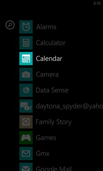Apps, selecciona Calendar