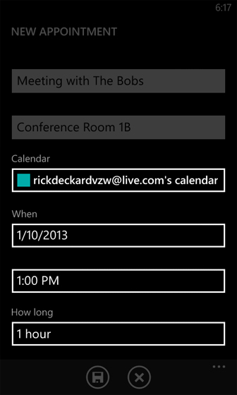 Calendar enter the appropriate information