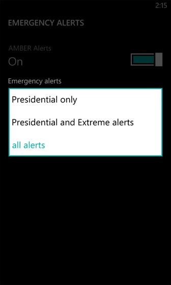 Emergency Alerts select from the Drop Down Menu choices