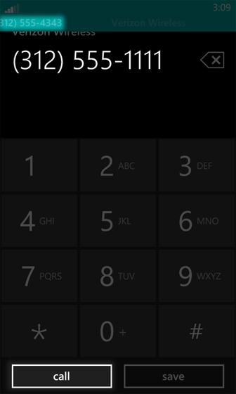 Pantalla de teclado con Call seleccionado