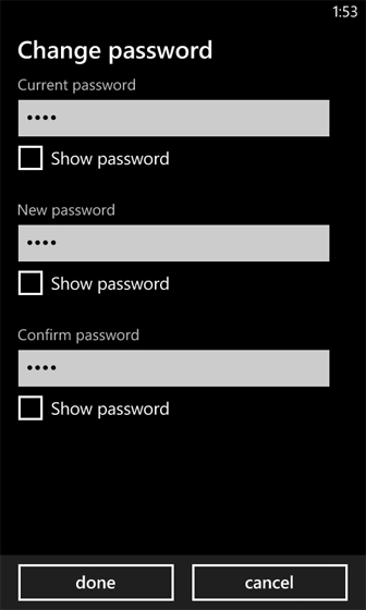 Lock screen select change password enter new and confirm