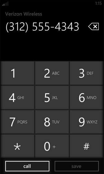 Phone screen dial number and select call