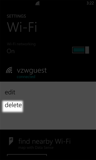 Wi-Fi screen select delete