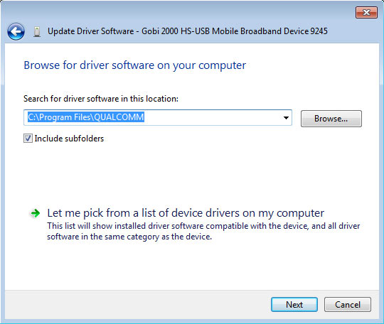 Browse for driver software on your computer