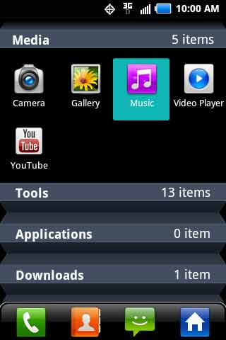 Applications menu with Music
